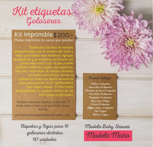 kit imprimible para golosinas - modelo moño