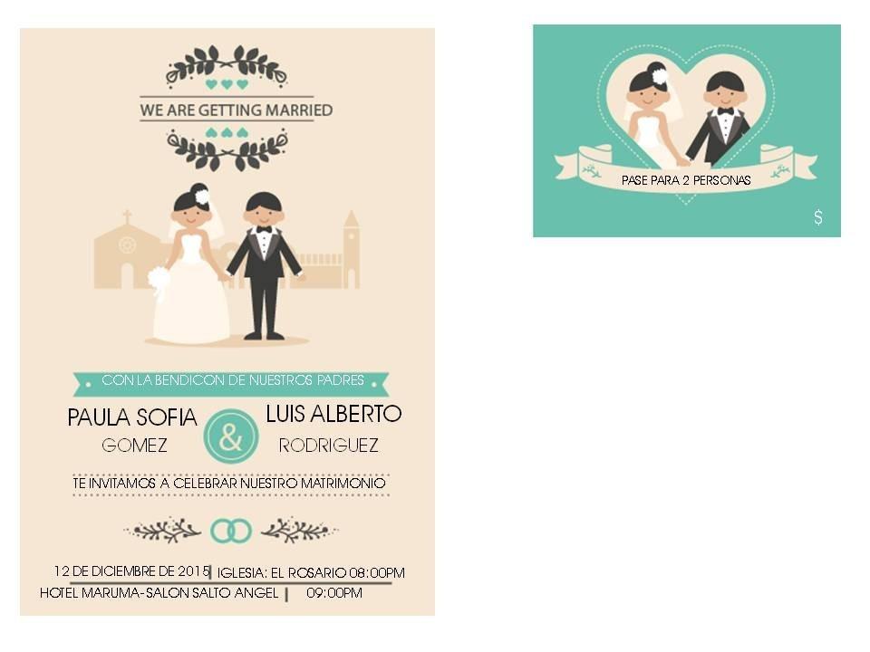 Kit Imprimible Para Tarjetas De Bodas - Bs. 300.000,00 en Mercado Libre