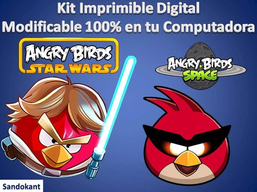 kit imprimible para tu fiesta angry birds star wars + space