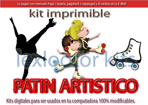 kit imprimible patin artistico candy bar tarjetas cumple