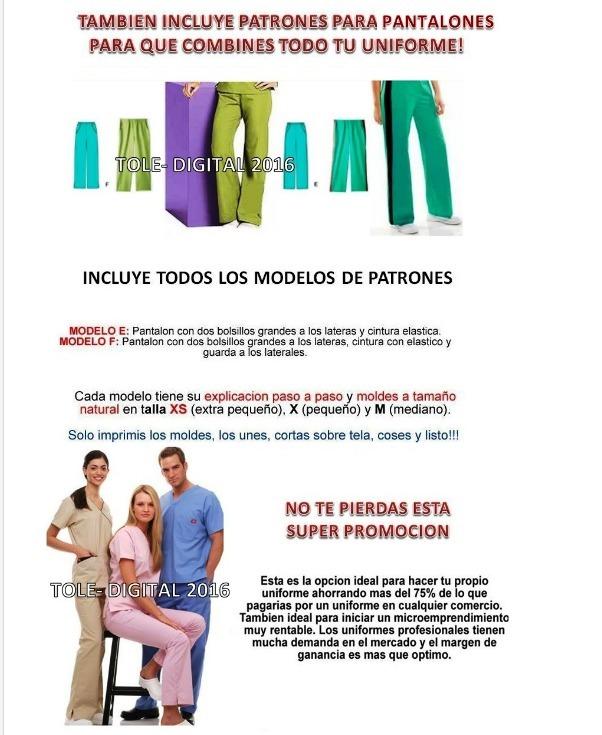 Kit Imprimible Patrones Uniformes Medicos Costura Moldes 2x1 - $ 41 ...