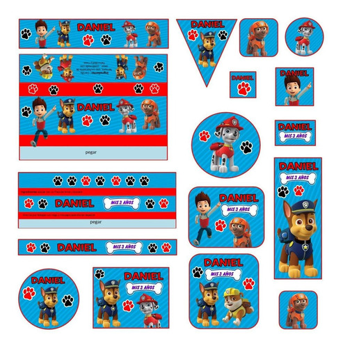 kit imprimible patrulla d cachorros paw patrol candy bar 2x1