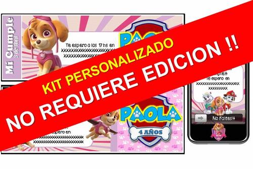 kit imprimible paw patrol 100% personalizado patrulla nenas