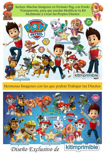 kit imprimible paw patrol  candy bar cumples y mas fiesta