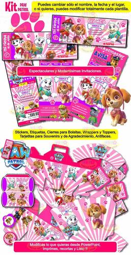 kit imprimible paw patrol candy bar invitaciones nene y nena