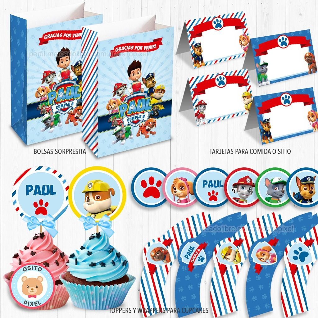 Kit Imprimible Paw Patrol Decoración Candy Patrulla Canina