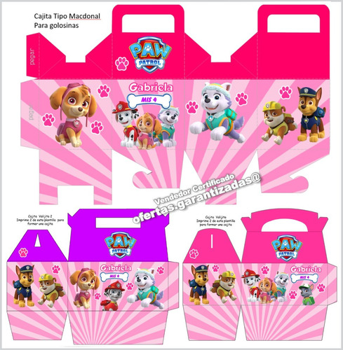 kit imprimible paw patrol patrulla de cachorros nena + candy