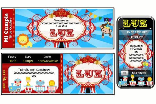 kit imprimible payasos y circo 100% personalizado