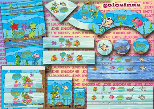 kit imprimible pecesitos fondo del mar peces