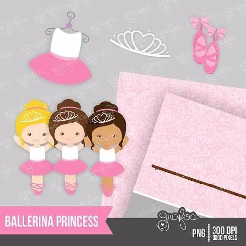 kit imprimible pequeñas bailarinas 4 imagenes clipart
