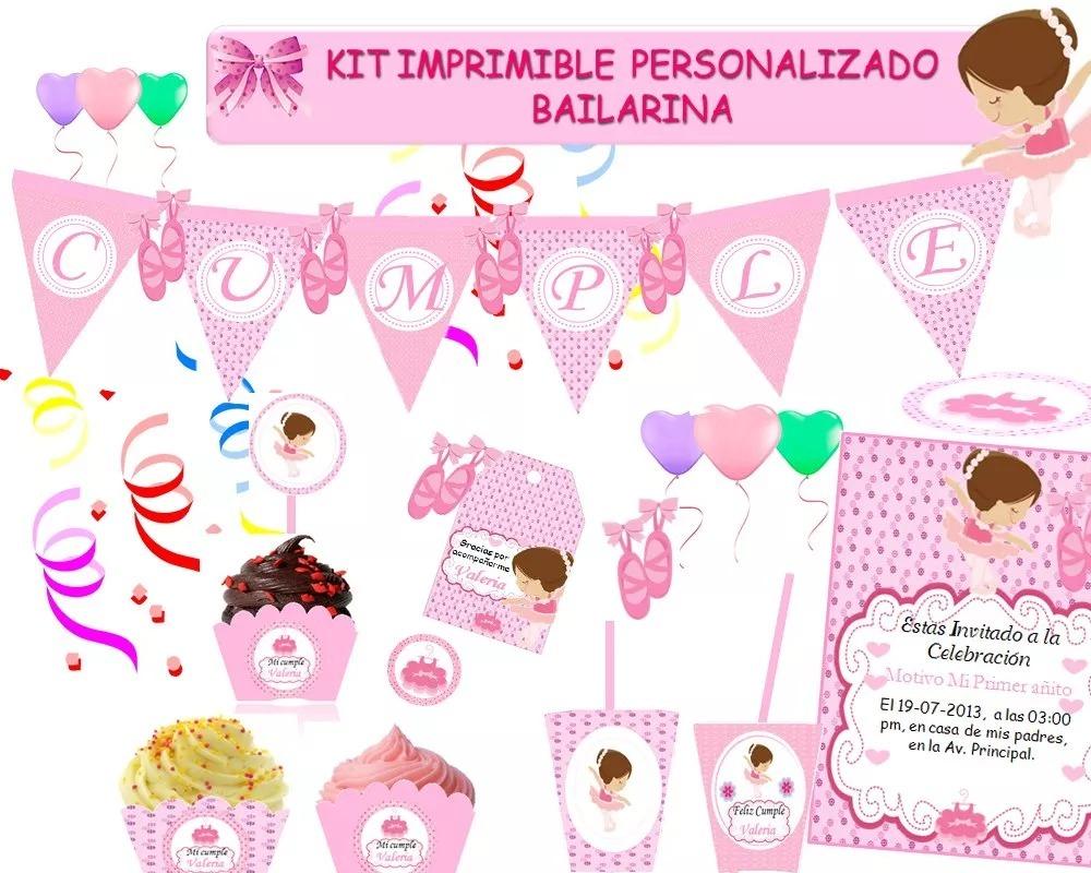 Kit Imprimible Personalizado Bailarina Ballet Candy Bar 129 00