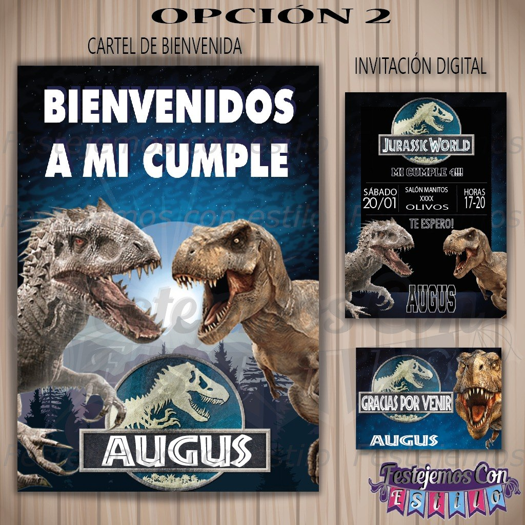 Kit Imprimible Personalizado Jurassic World Cumpleanos 190 00 En