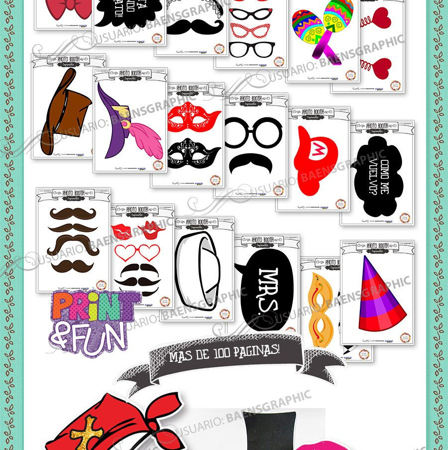 Kit Imprimible Photo Booth - Accesorios Para Bodas 2x1 - $ 20,00 en ...
