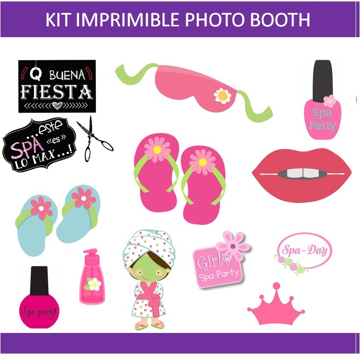 Kit Imprimible Photo Booth Props Spa Fiesta Carteles Nena 6000