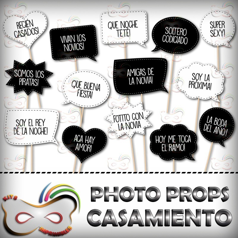 Kit Imprimible Photo Props Casamiento 36 Frases