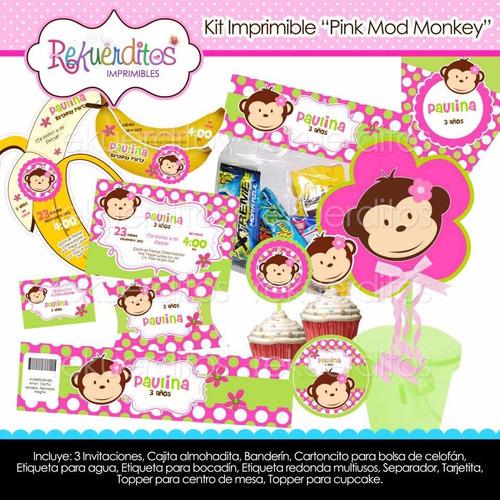 kit imprimible pink mod monkey tarjetas invitaciones