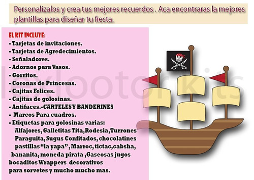 kit imprimible pirata nene piratas  tarjetas cumple y mas