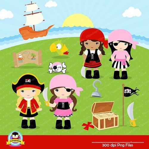 kit imprimible piratas nenas imagenes clipart