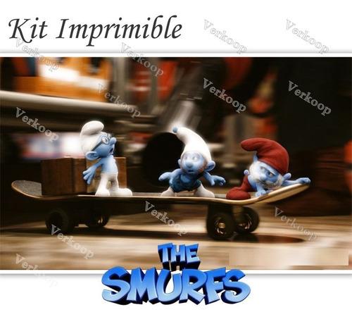 kit imprimible pitufos la pelicula 3d smurfs invitaciones pe
