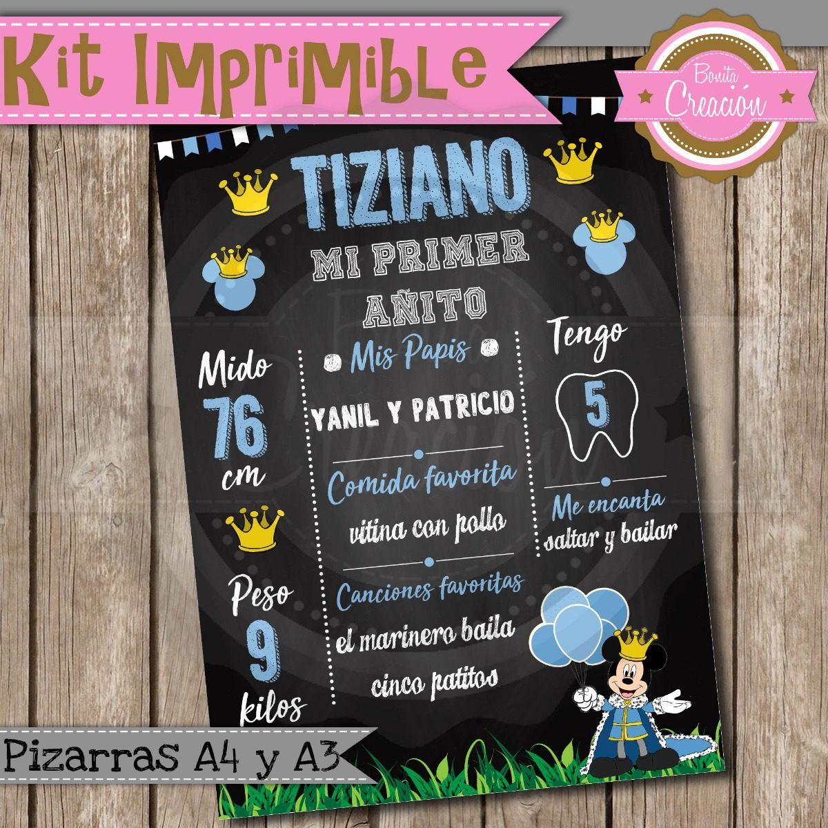Kit Imprimible Pizarra Mickey Principe Cumple Baby Shower 150