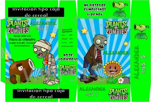 kit imprimible planta vs zombie,tarjeta,invita