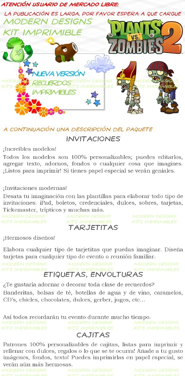 Kit Imprimible Plantas Vs Zombies 2 Adornos Invitaciones Y+