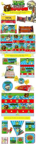 kit imprimible plantas vs zombies candy bar golosinas y mas
