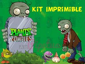 Kit Imprimible Plantas Vs Zombies Candybar Cumple Tematico