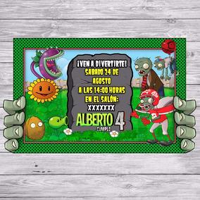 Kit Imprimible Plantas Vs Zombies Invitacion Golosina Editar