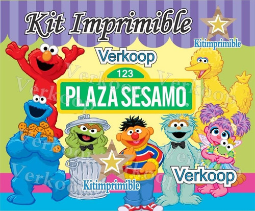 kit imprimible plaza sesamo + candy bar invitaciones