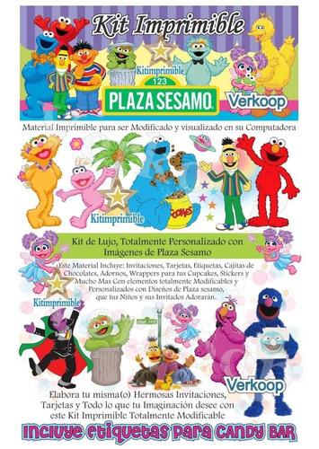 kit imprimible plaza sesamo + candy bar invitaciones