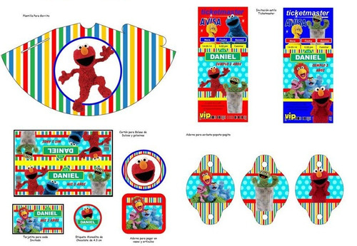 kit imprimible plaza sésamo fiesta 3x1