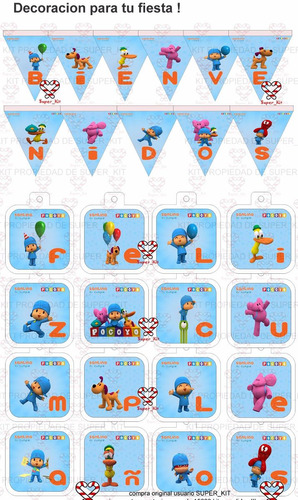 kit imprimible pocoyo - promo 3x1 - candy bar - invitaciones