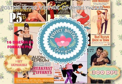 kit imprimible posters retro vintage cine p/ comercios deco