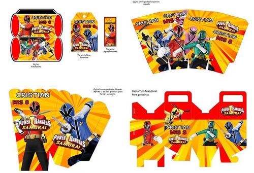 kit imprimible  power rangers para decorar fiesta
