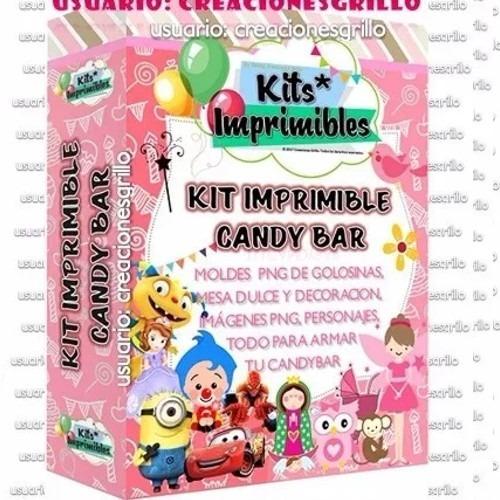 Kit Imprimible Premium Candy Bar Personajes Fondos - $ 45.00 en ...