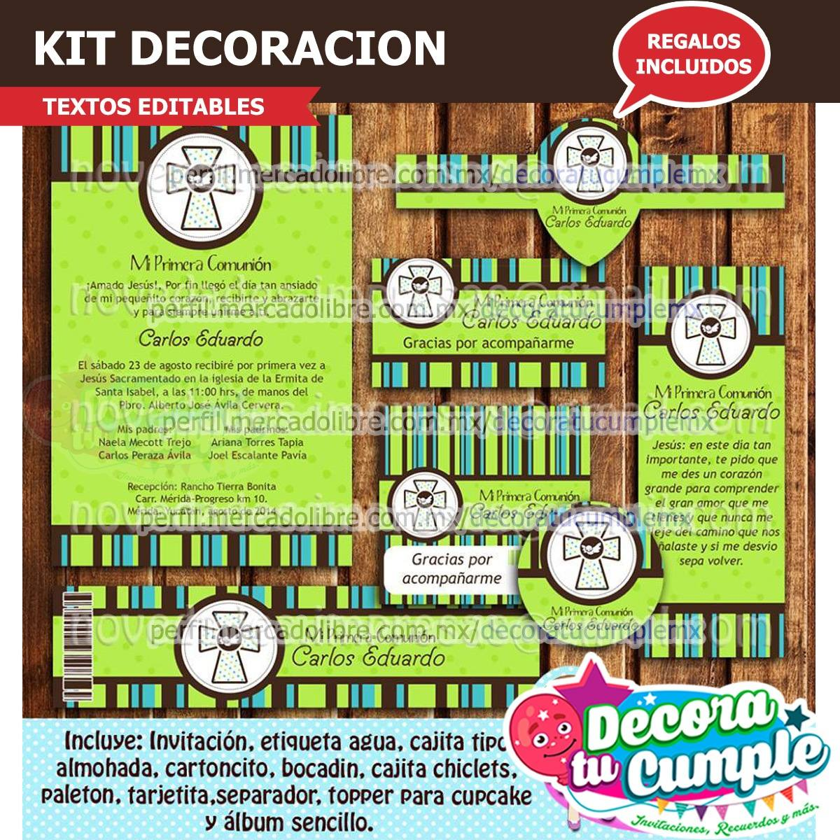 Kit Imprimible Primera Comunión Decoración Invitación A32 - $ 39.00 ...