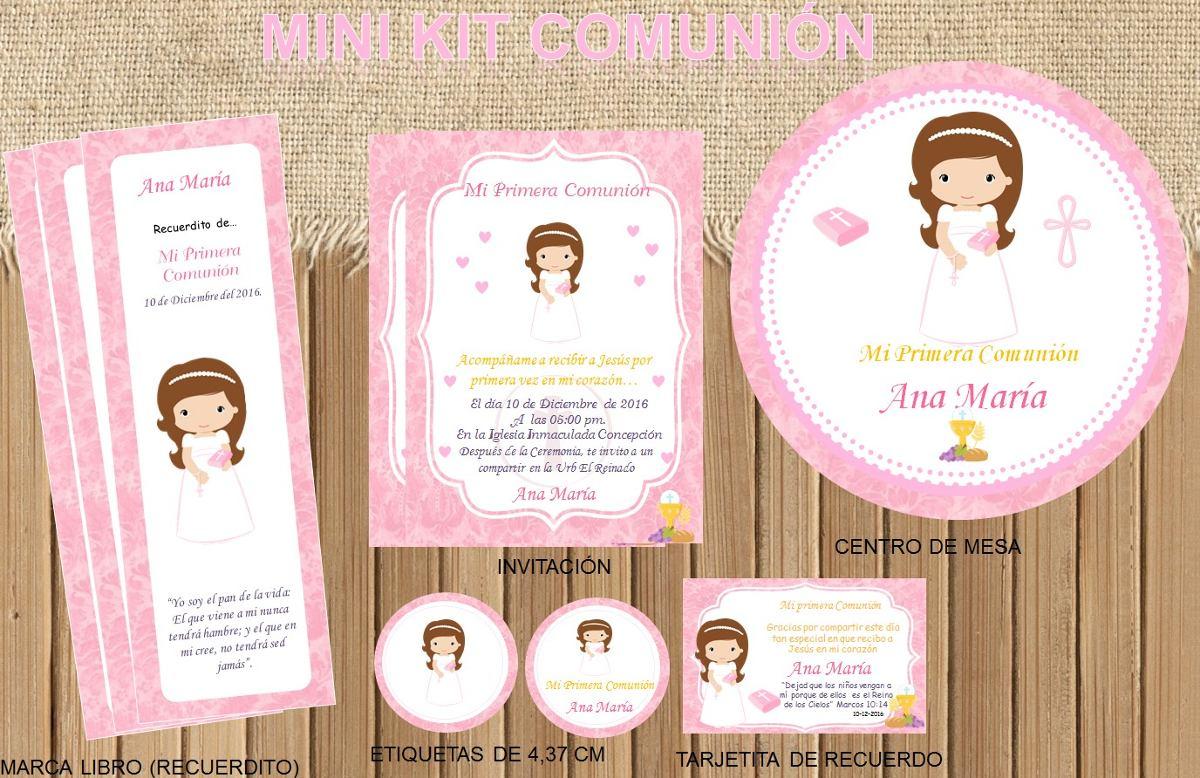 Kit Imprimible Primera Comunion Nena Personalizado Bautismo ...