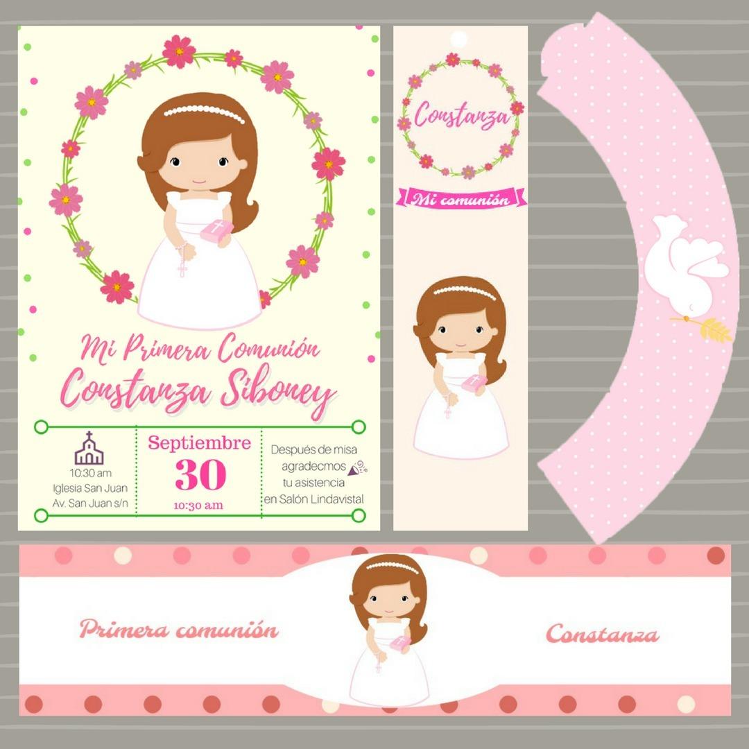 Kit Imprimible Primera Comunión Niña - $ 50.00 en Mercado Libre