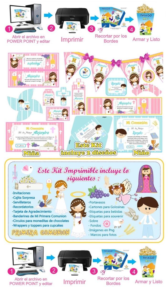 2e964de56bd Kit Imprimible Primera Comunion Niña Y Niño -   49.00 en Mercado Libre