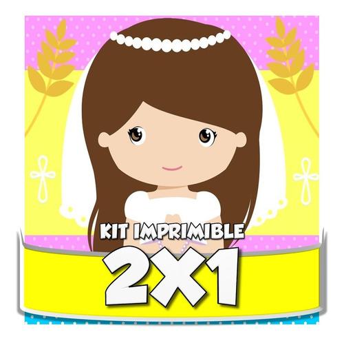 kit imprimible primera comunión niña y niño cotillón 2x1