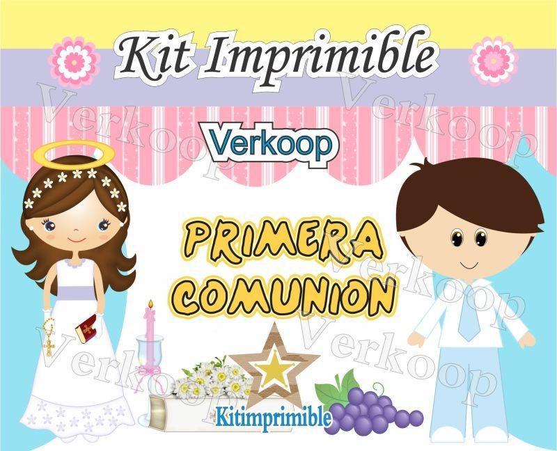 Kit Imprimible Primera Comunion Niña Y Niño Souvenirs - $ 35.500 en ...