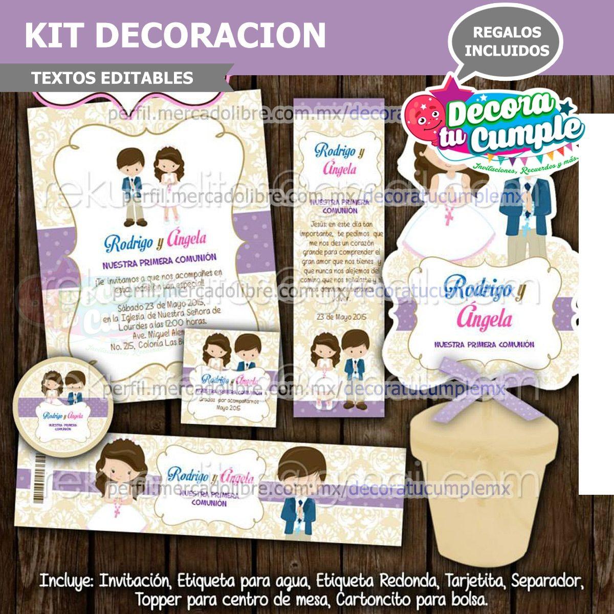 Kit Imprimible Primera Comunión Niño Niña Invitación B05 - $ 39.00 ...
