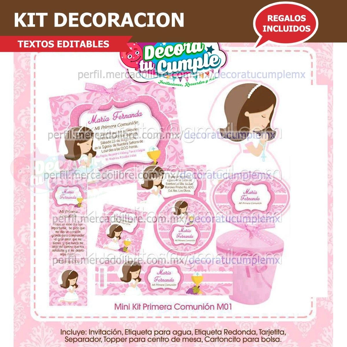 Kit Imprimible Primera Comunión Rosa Niña Decoración E100 - $ 39.00 ...