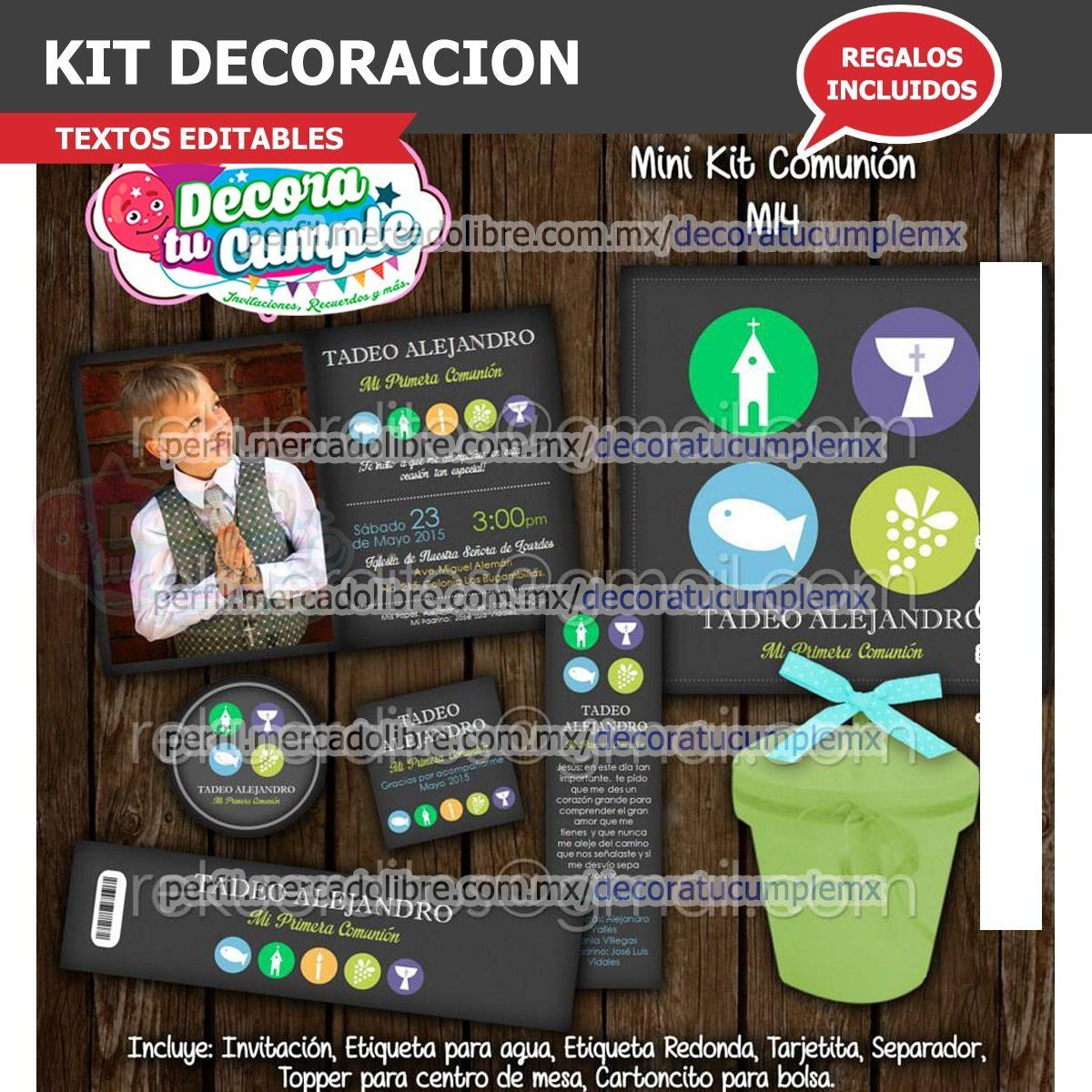 Kit Imprimible Primera Comunión Vintage Decoración E91 - $ 39.00 en ...