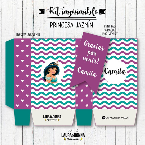 kit imprimible princesa jazmín aladin disney nenas cumple