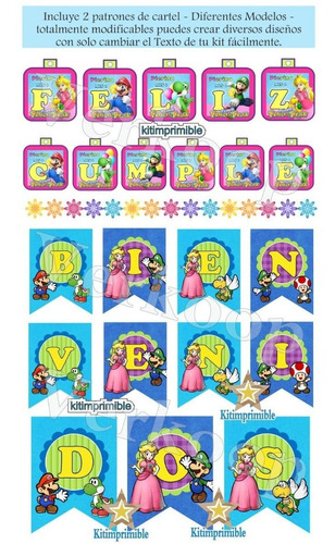 kit imprimible princesa peach invitaciones candy bar