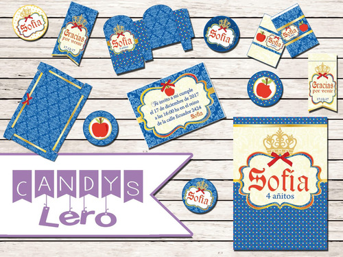 kit imprimible princesa sofia corona original candy bar