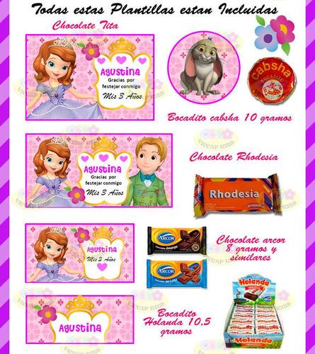 kit imprimible princesa sofía invitaciones candy bar deco