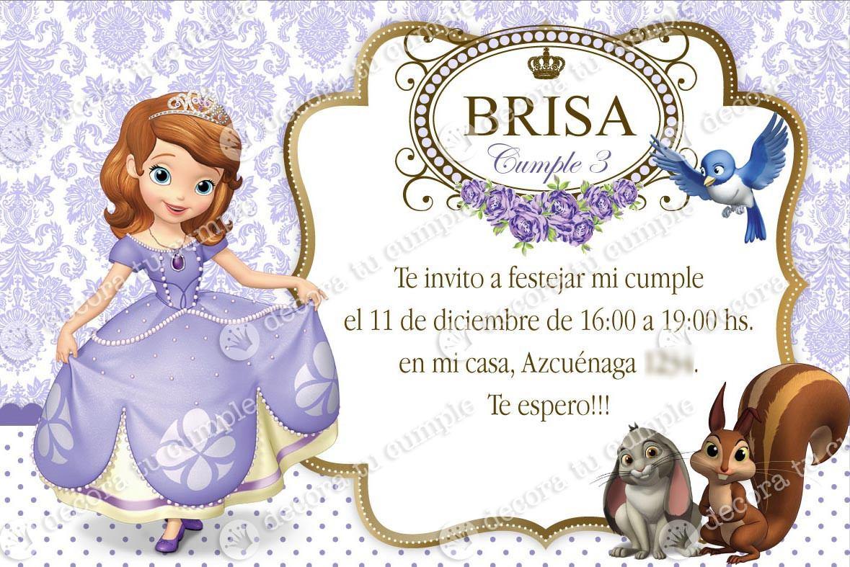 Kit Imprimible Princesa Sofía Lila Invitación Candybar - $ 345,00 en ...